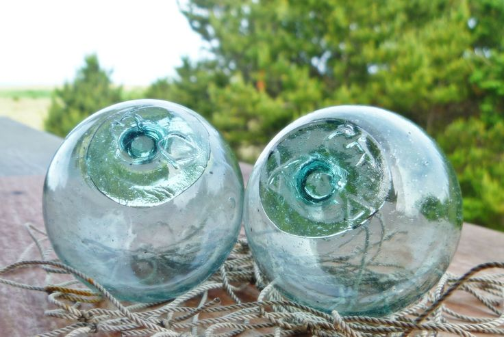 2 japanese glass ball fishing floats marked dg a vintage for Fishing net floats