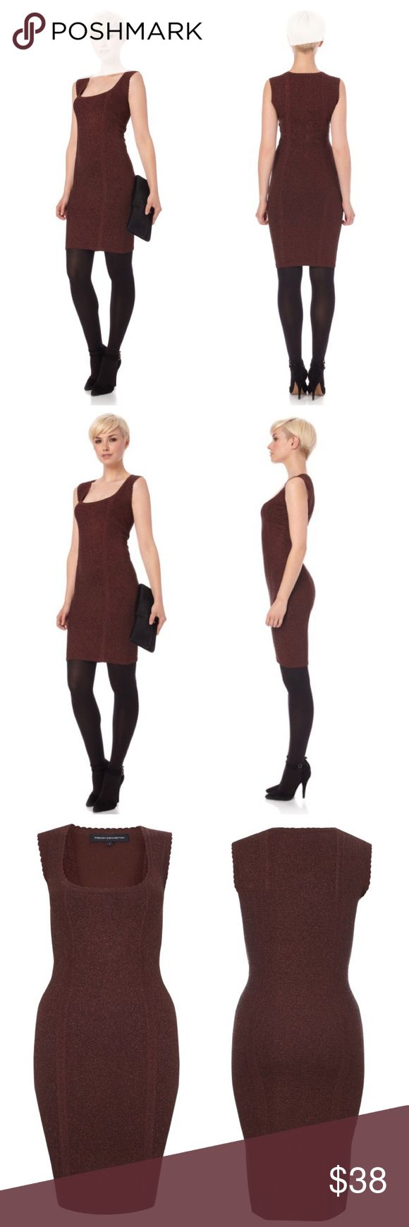 "French Connection Dani Lurex Metallic Dress Sz 10 French Connection Dani Lurex Knit Metallic Bodycon Dress  • Sz 10 • Metallic bitter plum purple color (has a brown tint) • 47% viscose 31% nylon 13% polyester 8% metallized fibers 1% elastase • Unlined • The metallic knit fabric is thick and very stretchy. It will hold in similar to shapewear • 36"" length • 15"" bust (measured flat), fabric stretches • Scalloped detailing edge the mini cap sleeves and scoop neck collar • Very good pre-loved…"
