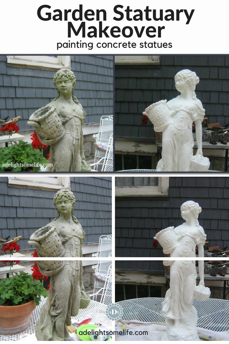How I Transformed My Concrete Garden Statues With Paint Concrete Garden Statues Concrete Garden Painting Concrete