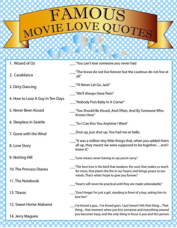 Movie Quotes Bridal Shower Game  Love  Pinterest