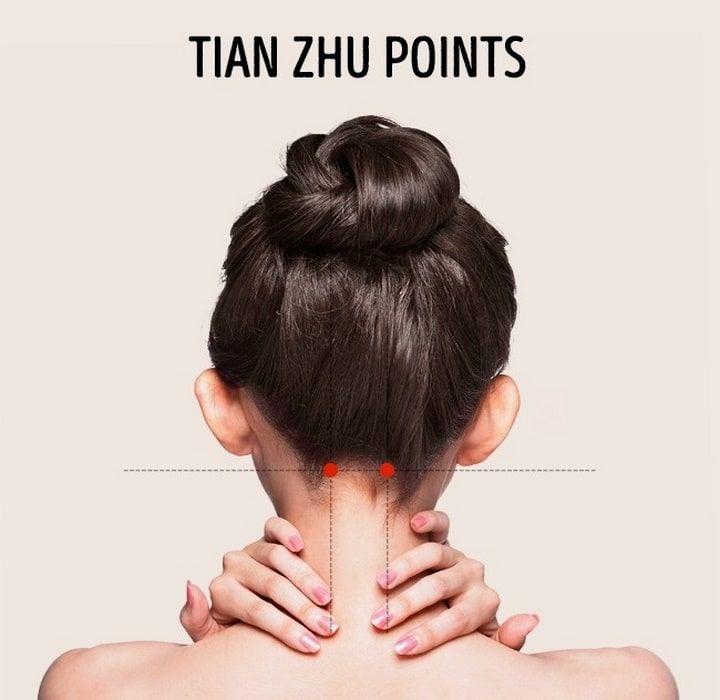Ces points sont situés à l'arrière du crâne, entre les oreilles et le début de la colonne vertébrale. Masser ces points aide à soulager la congestion nasale, les douleurs oculaires et aux oreilles, les maux de tête intenses et la migraine. - Publicité -