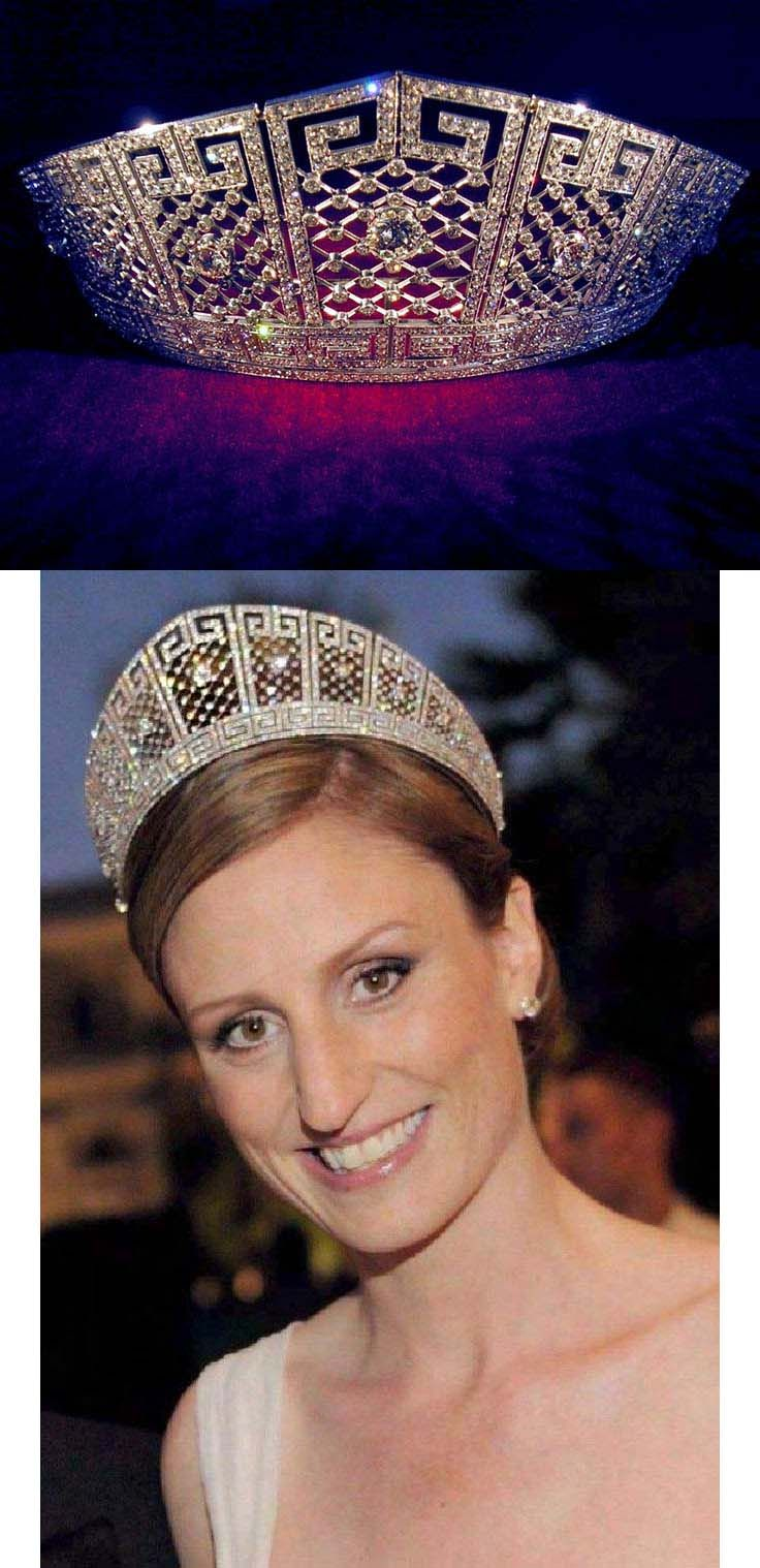 The Prussian Meander Tiara was made by German court jewellers Koch in 1905 as a wedding gift for Duchess Cecilie of Mecklenburg-Schwerin (1886-1954) from her groom, Wilhelm, the German Crown Prince and Crown Prince of Prussia.  Made of diamonds set in platinum in a kokoshnik shape, it includes panels of diamond trellis work set between two rows of Greek key or meander motifs. Each trellis section is centered by a large brilliant diamond. Bottom: Princess Sophie of Prussia wearing the tiara.