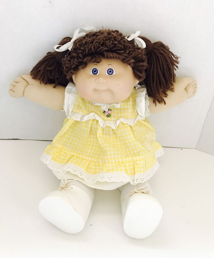 16  1986 CABBAGE PATCH KIDS DOLL CPK Outfit Brunette/blue Eyes Dimple