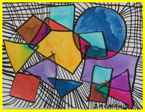 Prendre des formes, tracer le contour des formes retracer le contour de chacune avec un marqueur indélébile ( fait par la maîtresse ou l'atsem) colorier chaque partie obtenue à l'encre avec un coton-tige , pour plus de précision tracer des traits au feutre noir = entre 2 formes et entre une forme et le bord de la feuille. les traits pouvant se croiser. Il faut remplir tout l'espace de la feuille.