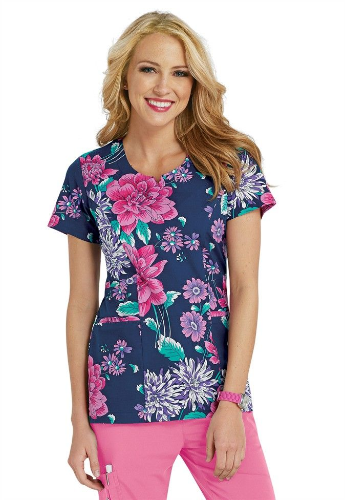 Grey's Anatomy Signature Lucia notch neck print scrub top | Scrubs and Beyond