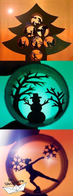 basteln zu Weihnachten mit Papier und Klopapierrollen. Dekoidee zu Weihnachten - Tannenbaum.  Schneeman, Krippe, Eiskunstläuferin, Weihnachtsmann, Engel, Reh und Rentier mit Schlitten. Eine Anleitung mit kostenloser Vorlage. Weitere Anleitungen wie Sterne basteln und Engelbasteln zu Weihnachten gibt auf meinem Blog.