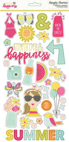 Simple Stories - Sunshine and Happiness Collection - Chipboard Stickers