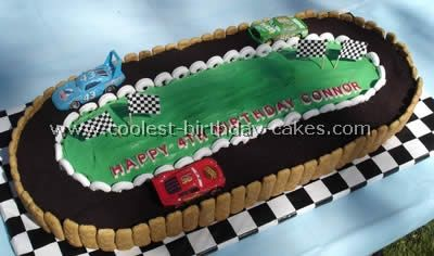 Making this for Paddy's birthday, although I will do grass on the side instead of graham crackers and try to pipe a trophy on the field, checkered finish line on the track, and possibly a checkered 5 on the field.