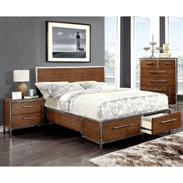 Furniture of America Anye Industrial Style Dark Oak Platform Bed with  Drawers29 best storage beds images on Pinterest   Storage beds  Bedroom  . Oak Bedroom Furniture Auckland. Home Design Ideas