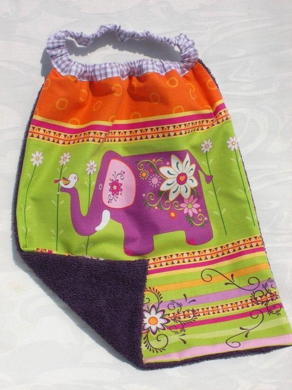 """BAVOIR à enfiler élastique en coton doublé éponge """"Eléphant à Bollywood..."""" : Mode Bébé par paquita-14400"""