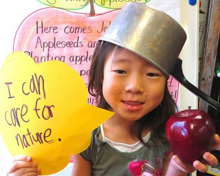 Cute Johnny Appleseed writing activity & photo idea