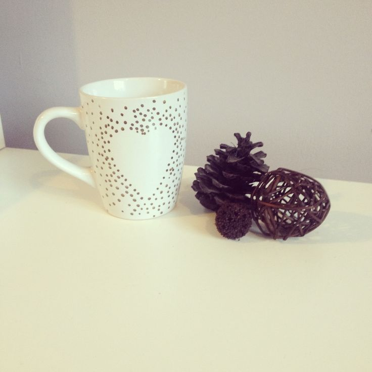 Heart mug. Perfect for all your favourite hot drinks. Gold Polka dot design. Gift for loved one