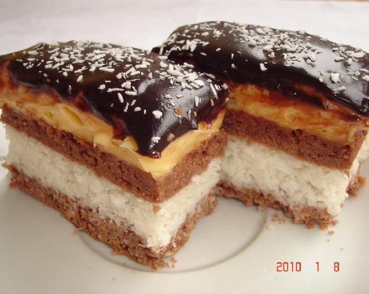 Hozzávalók:   Tészta:   25 dkg liszt 1 csomag sütőpor  12.5 dkg Ráma margarin 1 evőkanál kakaó 1 tojás  15 dkg porcukor  Kókuszos töltelék...