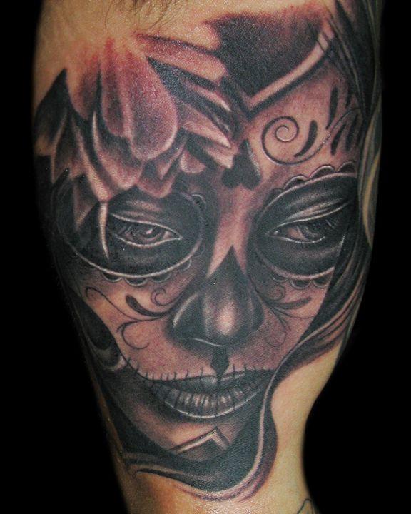Dias Muertos Face Woman Tattoo By Tony Mancia