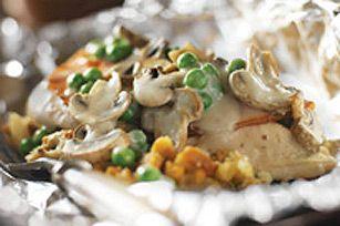 Souper de poulet crémeux et de champignons en papillote #recette
