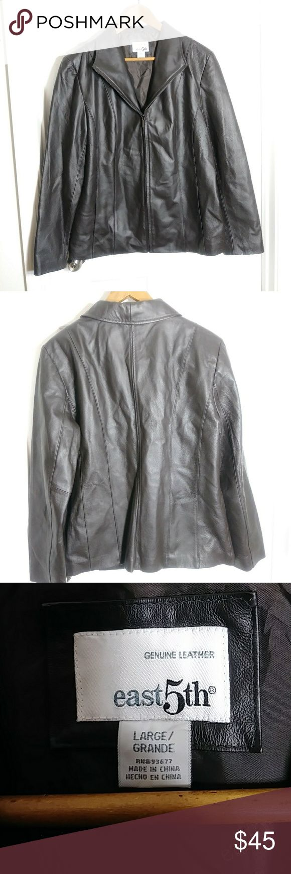 East 5th genuine leather jacket size Large Brown East 5th