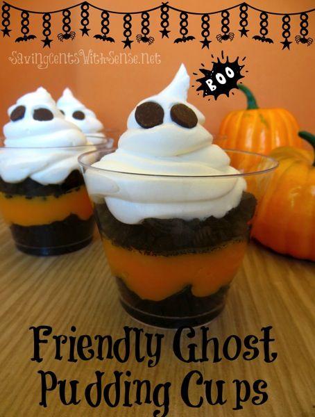 Friendly Ghost Pudding Cups #halloween #treat #dessert