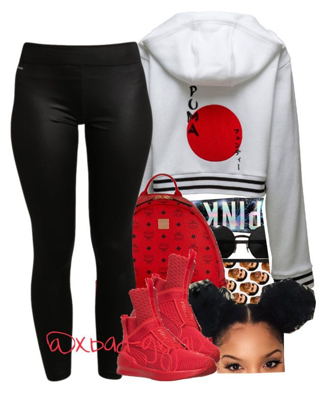 """"" by xbad-gyalx ❤ liked on Polyvore featuring Versace, Puma, MCM, adidas and plus size clothing"
