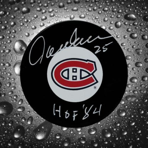Jacques Lemaire Autographed Hockey Puck with Hall of Fame Inscription #SportsMemorabilia #MontrealCanadiens