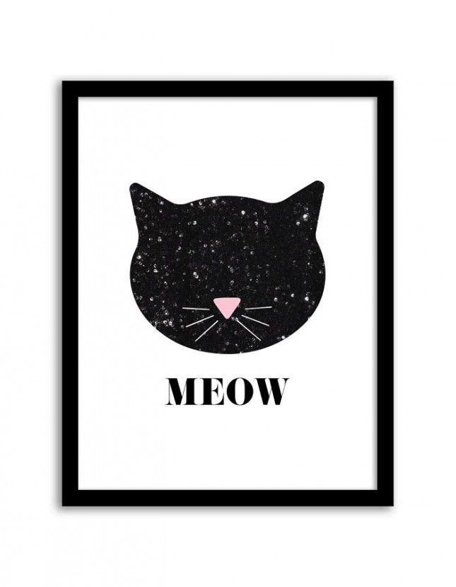 Get this free printable sequin cat poster for your gallery wall STAT.