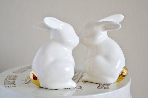 Wedding cake topper bunny rabbits Wedding by JasminBlancBoutique, $49.00