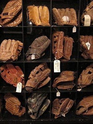 baseball gloves - sorry but I love the smell of a real leather glove! #letsplayball