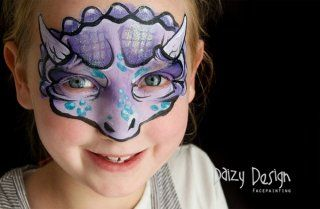 Modèle de maquillage d'enfant : le dinosaure violet