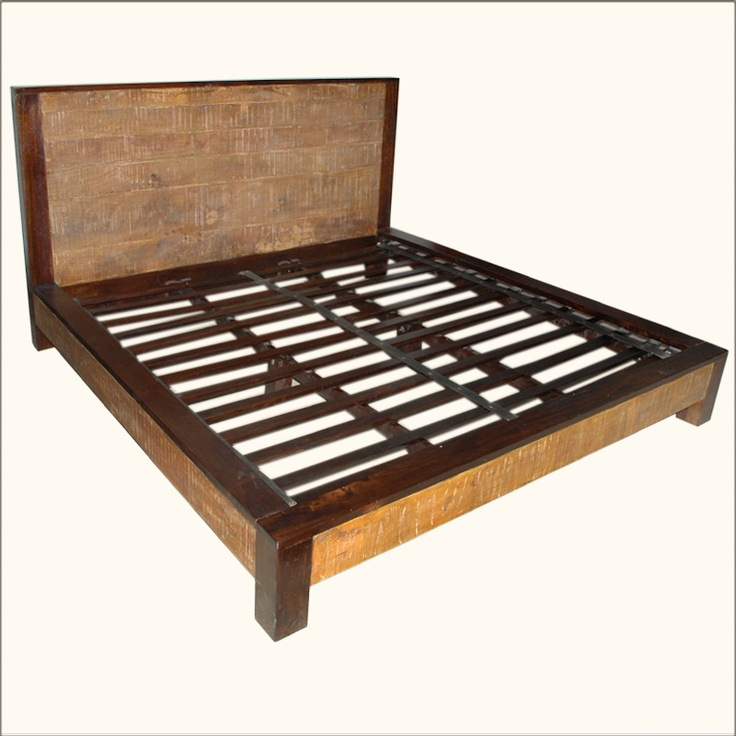 Modern Midnight Solid Wood Platform Bed Frame with Nightstands