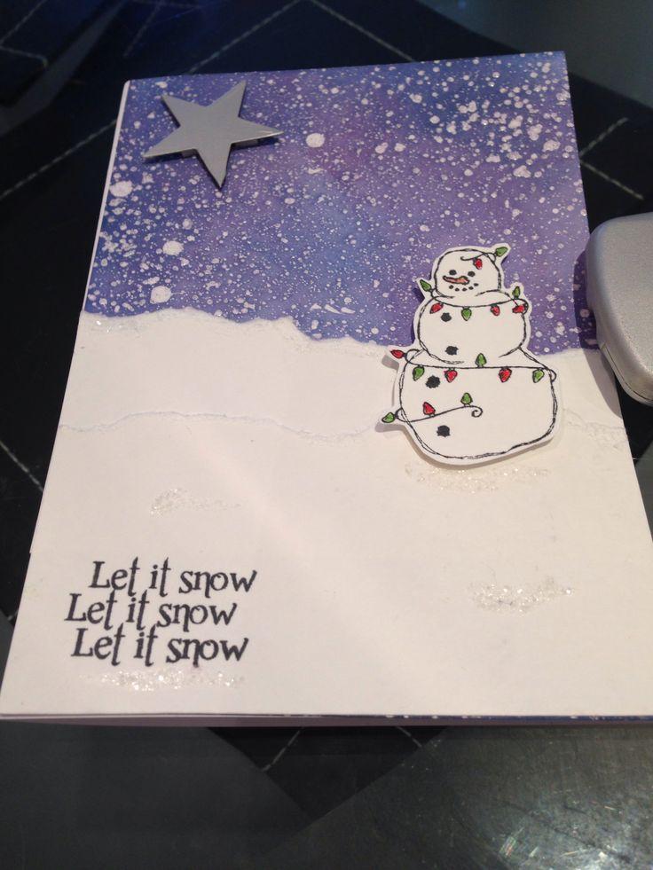 Snowman snow scene handmade christmas card using distress for Handmade snowman christmas cards