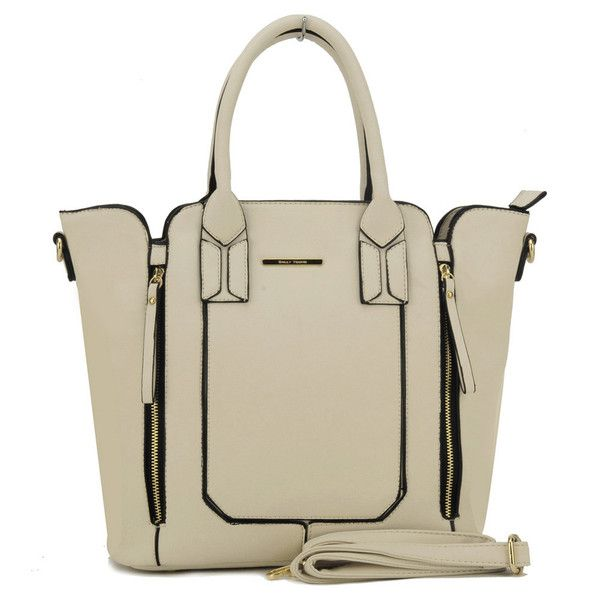 Beige  -  Zipper Design Patchwork Trapeze Bag Winged Women Bags £21.99