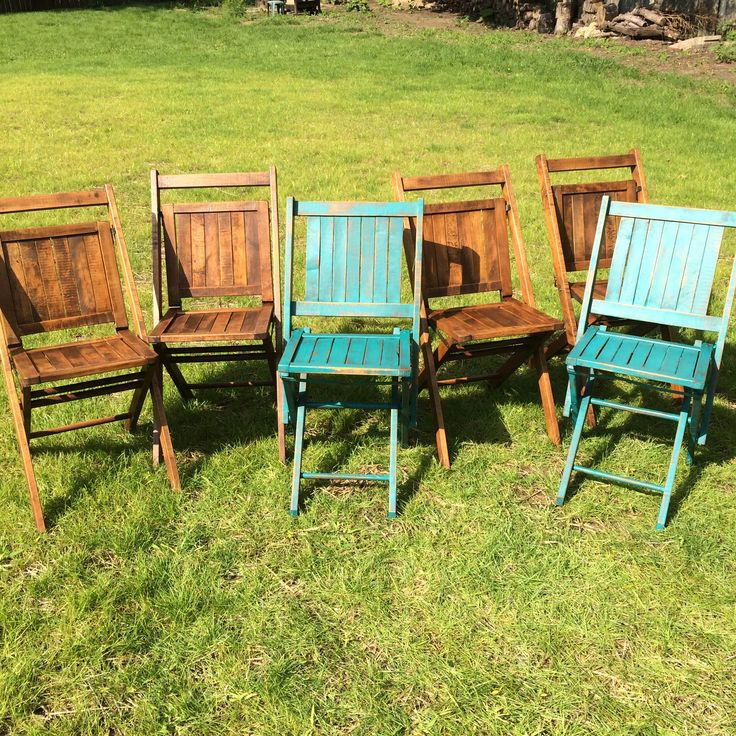 We are obsessed with these vintage Simmons wooden folding chair.  They are the perfect chair for any patio or deck, or to create the ultimate shabby chic look at a dining room table.   We refinished 4 by sanding them and staining them with our favorite stain color, Special Walnut. For the other 2 we painted them turquoise, stained them and then distressed them. Together they make a beautiful set of 6! They all have a think protective poly coat to help them withstand outdoor weather.