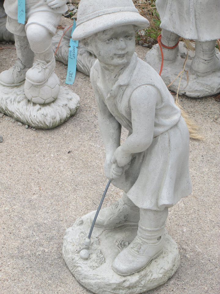 Boy Playing Golf Concrete Statues Garden Statues Statue