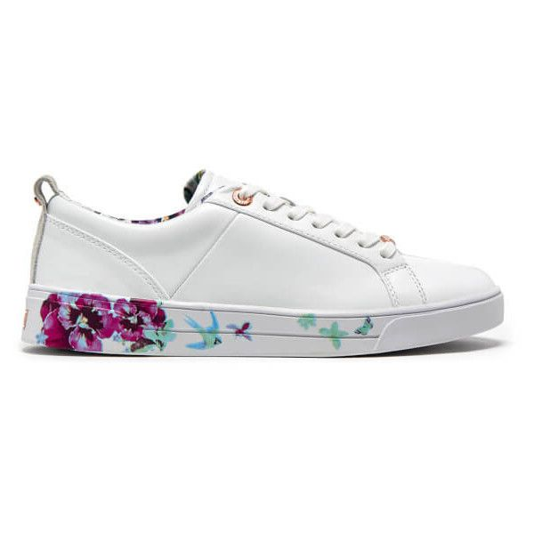 Ted Baker Women's Barrica Leather Cupsole Trainers (2,305 MXN) ❤ liked on Polyvore featuring shoes, sneakers, white, floral shoes, white sneakers, white leather shoes, white leather trainers and white low top shoes