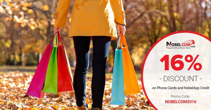"""FALL SALE on International Calling Phone Cards and NobelApp Credit! Simply use #couponcode """"NOBELCOM16"""" at checkout  until November 27th."""