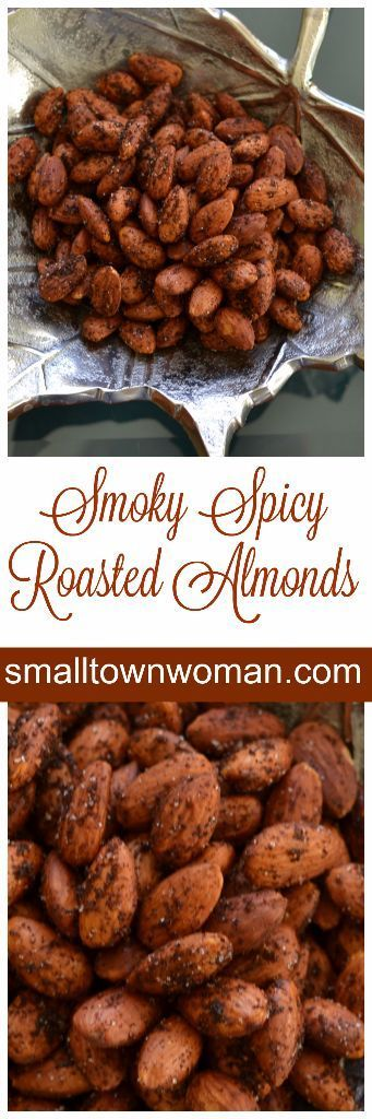 These Smoky Spicy Roasted Almonds are seasoned perfectly with chili powder, cumin, cayenne, onion and garlic.  Then they are roasted to perfection.