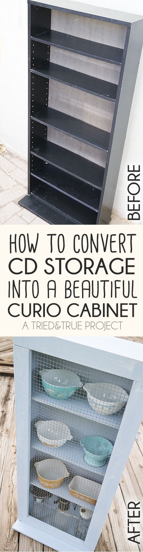 How to convert a thrifted CD storage shelf into an adorable farmhouse chic cabinet!