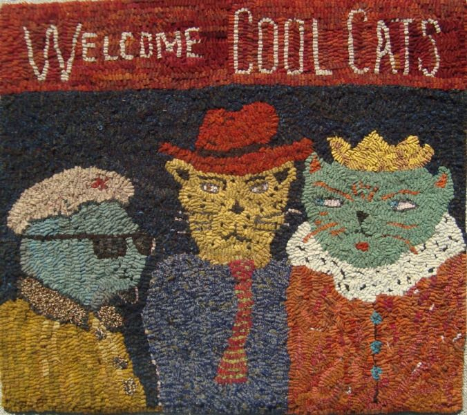 Hooked Rug ... Welcome Cool Cats ... By Sharon A. Smith