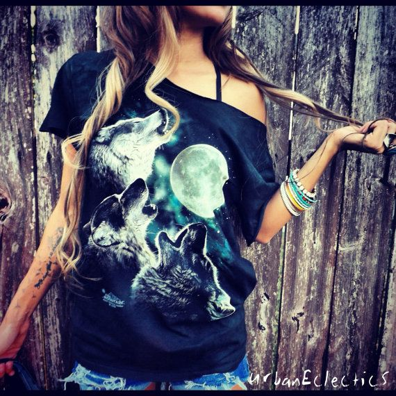 Howling Wolves Off the Shoulder Shredded TShirt by UrbanEclectics, $39.00