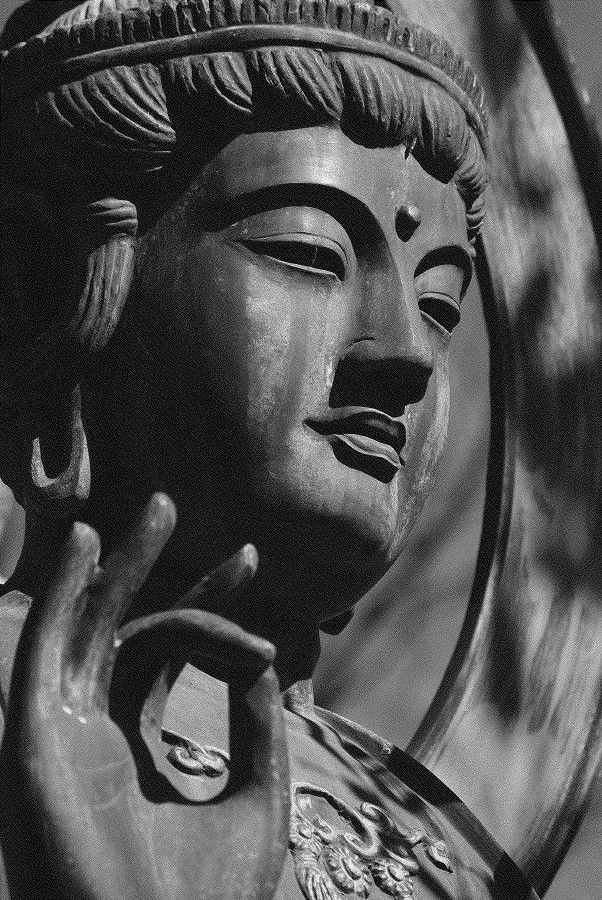 """""""A quiet mind is all you need. All else will happen rightly, once your mind is quiet. As the sun on rising makes the world active, so does self-awareness affect changes in the mind. In the light of calm and steady self-awareness, inner energies wake up and work miracles without any effort on your part"""" ~ Nisargadatta Maharaj Buddha; Photo by Ken Domon"""