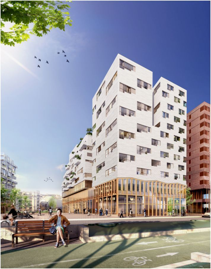 Mixed-Use Building in Paris Winning Proposal / SOA Architects Nice way to seperate the podium from the building mass