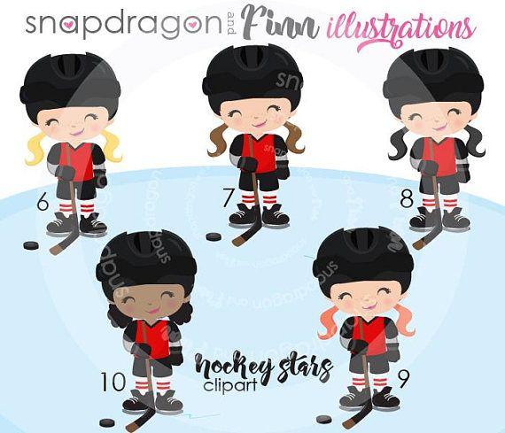 Girls Hockey Clipart Winter Clipart Girl Hockey Players Hockey Girls Winter Clipart Hockey