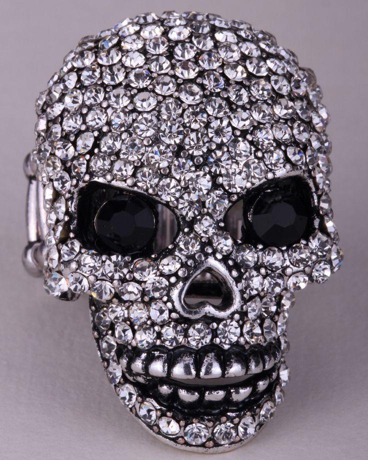 Schedel stretch ring W bewegende kaak halloween sieraden gift voor vrouwen meisjes biker bling sieraden goud verzilverd dropship groothandel