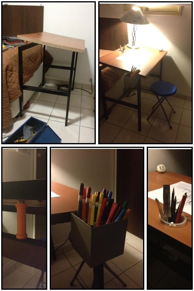 Mesa de desenho construída com matérias que seriam jogados no lixo! Mesa pintada, cortada e montada! Agora tenho no meu quarto uma sensacional mesa reclinável para meus desenhos.