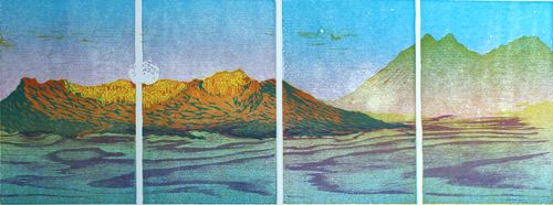 Sunrise on Mount Elden with Supermoon, Reduction linoleum block with woodcut, 12in x 37in