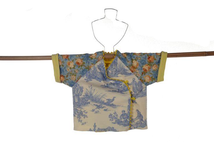 babykimono in Oriental Blue and vintage flowerpattern.