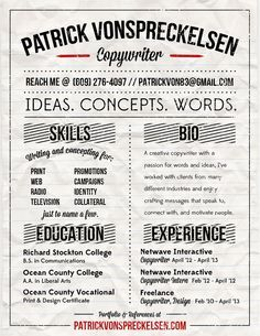 Sample Ad Copywriter Resume This Is What Iu0027m Talking About   Awesome Copywriting  CV!  Copywriter Resume