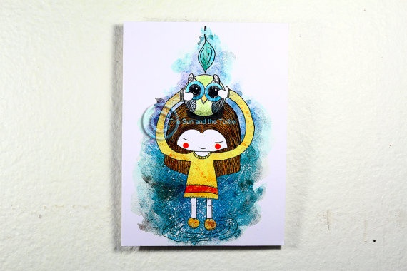 Limited edition Art print Girl with Owl by thesunandtheturtle, $2.50