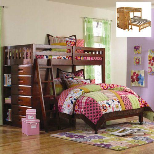 L-Shaped-Bunk-Bed-Frame-Kids-Loft-Dresser-Twin-Over-Full-Modern-Furniture-Teens