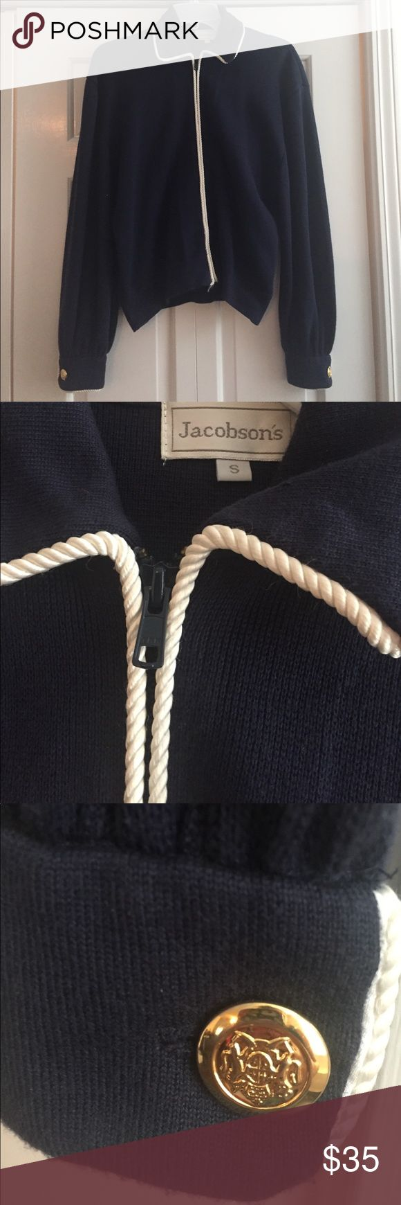 Nautical zip up sweater Navy blue lightweight sweater with white piping and gold buttons. 80's vintage from Jacobsons department store. Perfect for summer. Slight fraying on bottom of zipper but overall very good condition. Sweaters Cardigans