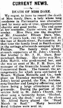The Cumberland Argus and Fruitgrowers Advocate (Parramatta, NSW : 1888 - 1950), Saturday 9 June 1906, page 4 -- Death Notice of Emily Dare